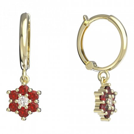 BeKid, Gold kids earrings -109 - Switching on: Circles 12 mm, Metal: Yellow gold 585, Stone: Red cubic zircon
