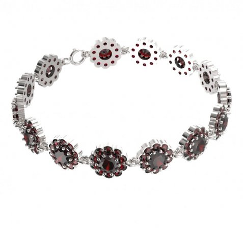 BG bracelet 293 - Metal: Yellow gold 585, Stone: Moldavit and garnet