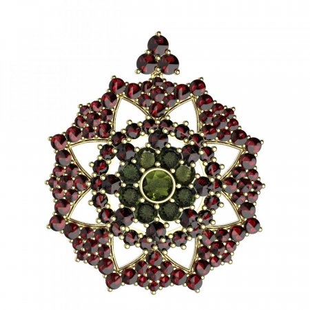 BG brooch 234 - Metal: Yellow gold 585, Stone: Moldavit and garnet