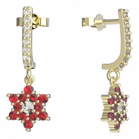 BeKid, Gold kids earrings -090 - Switching on: Pendant hanger, Metal: Yellow gold 585, Stone: Red cubic zircon