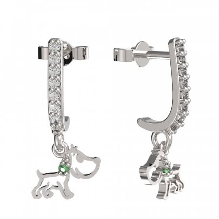 BeKid, Gold kids earrings -1159 - Switching on: Pendant hanger, Metal: White gold 585, Stone: Green cubic zircon
