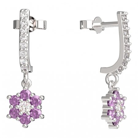 BeKid, Gold kids earrings -109 - Switching on: Pendant hanger, Metal: White gold 585, Stone: Pink cubic zircon