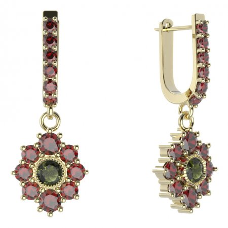 BG circular earring 017-94 - Metal: Yellow gold 585, Stone: Moldavit and garnet