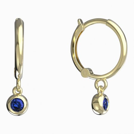 BeKid, Gold kids earrings -101 - Switching on: Circles 12 mm, Metal: Yellow gold 585, Stone: Dark blue cubic zircon