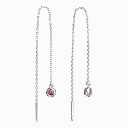 BeKid, Gold kids earrings -101 - Switching on: Chain 9 cm, Metal: White gold 585, Stone: Pink cubic zircon
