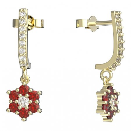 BeKid, Gold kids earrings -109 - Switching on: Pendant hanger, Metal: Yellow gold 585, Stone: Red cubic zircon