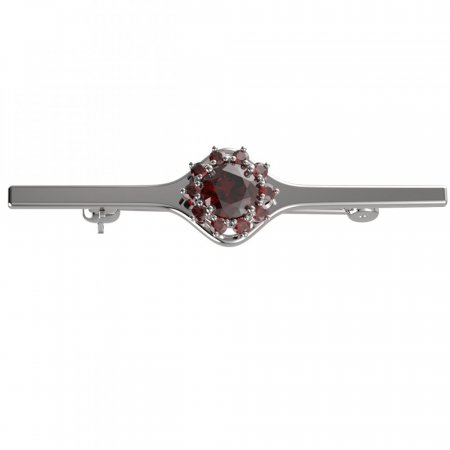 BG brooch 511I - Metal: White gold 585, Stone: Garnet