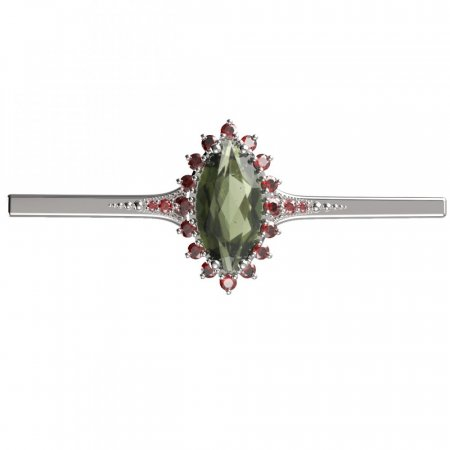 BG brooch 513K - Metal: White gold 585, Stone: Garnet