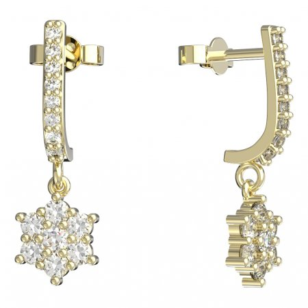 BeKid, Gold kids earrings -109 - Switching on: Brizura 0-3 roky, Metal: Yellow gold 585, Stone: Red cubic zircon