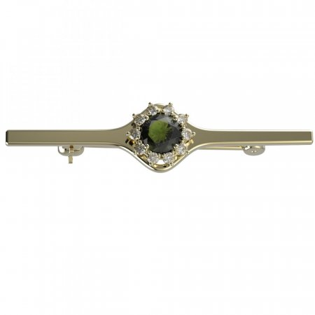 BG brooch 511I - Metal: Silver 925 - ruthenium, Stone: Moldavit and garnet