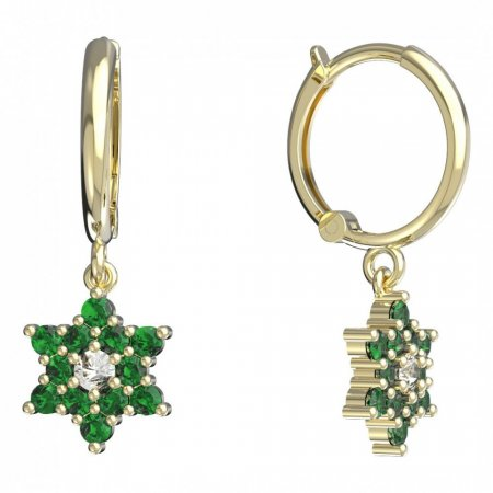 BeKid, Gold kids earrings -090 - Switching on: Circles 12 mm, Metal: Yellow gold 585, Stone: Green cubic zircon