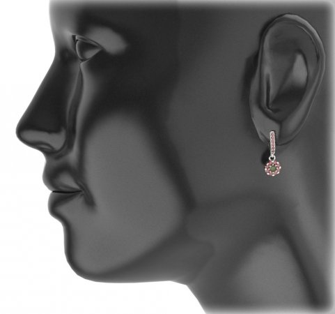 BG circular earring 088-96 - Metal: White gold 585, Stone: Moldavit and garnet
