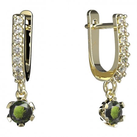 BG moldavit earrings -870 - Switching on: Puzeta, Metal: Yellow gold 585, Stone: Moldavite