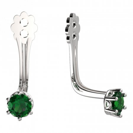 BeKid Gold earrings components 3 - Metal: White gold 585, Stone: Green cubic zircon