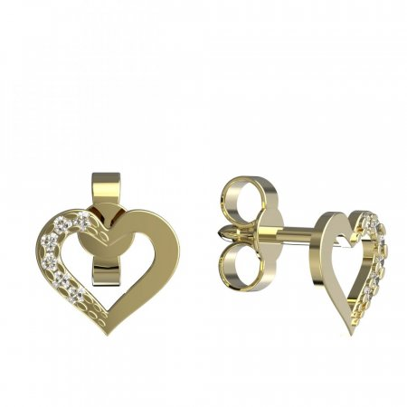 BeKid, Gold kids earrings 599 - Switching on: Circles 15 mm, Metal: Yellow gold 585, Stone: White cubic zircon