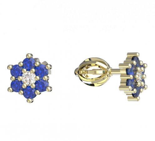 BeKid, Gold kids earrings -109 - Switching on: Screw, Metal: Yellow gold 585, Stone: Dark blue cubic zircon