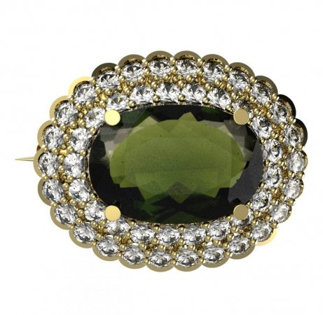 BG brooch 485 - Metal: Silver 925 - ruthenium, Stone: Moldavit and garnet
