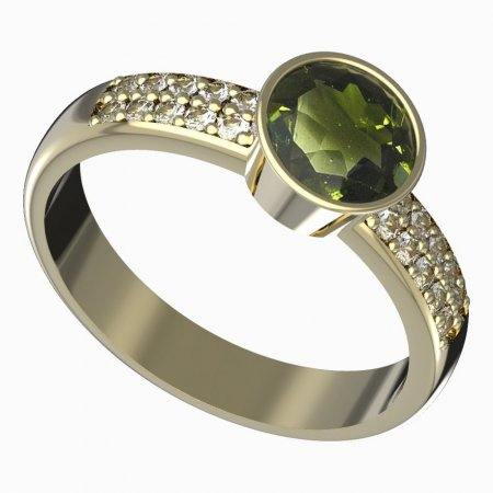 BG gold Ring 724 - Metal: Yellow gold 585, Stone: Moldavite and cubic zirconium
