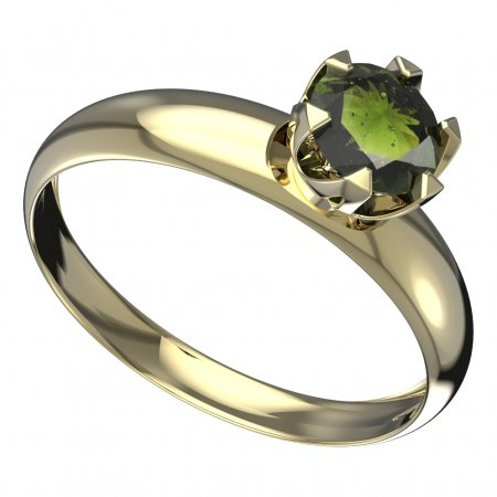 BG moldavit ring - 872T - Metal: Yellow gold 585, Stone: Moldavite