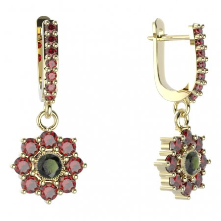 BG circular earring 030-84 - Metal: White gold 585, Stone: Moldavit and garnet