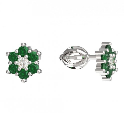 BeKid, Gold kids earrings -109 - Switching on: Screw, Metal: White gold 585, Stone: Green cubic zircon