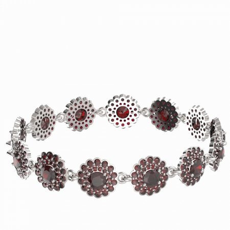 BG bracelet 463 - Metal: White gold 585, Stone: Moldavit and garnet