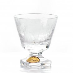 Set of two hand engraved crystal cups for liqueur Aida friendly+gold SRQAGSR25
