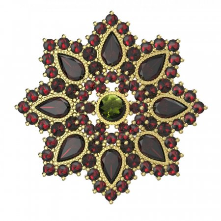 BG brooch 203 - Metal: Yellow gold 585, Stone: Garnet