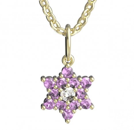 BeKid, Gold kids pendant - 090 - Metal: Yellow gold 585, Stone: White cubic zircon