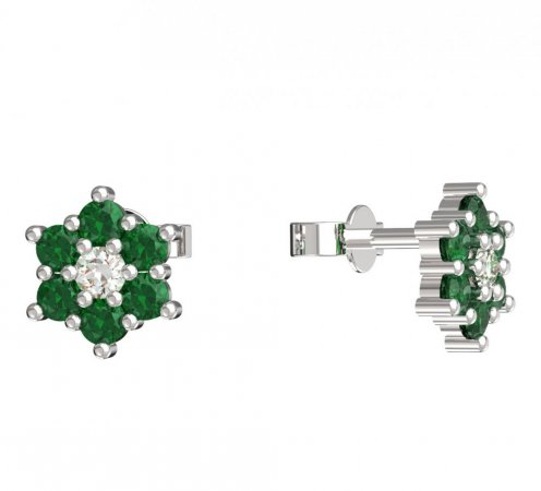 BeKid, Gold kids earrings -109 - Switching on: Puzeta, Metal: White gold 585, Stone: Green cubic zircon