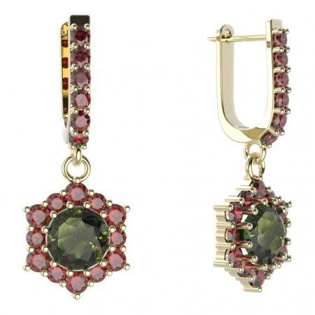 BG circular earring 230-94 - Metal: Yellow gold 585, Stone: Moldavit and garnet