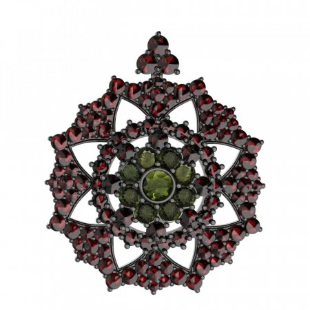 BG brooch 234 - Metal: White gold 585, Stone: Garnet