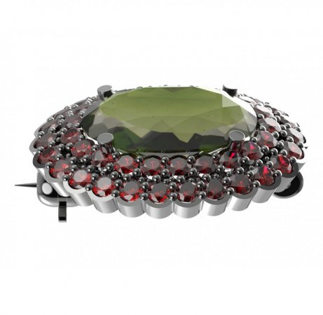 BG brooch 485 - Metal: White gold 585, Stone: Moldavite and cubic zirconium