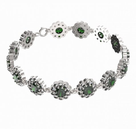 BG bracelet 293 - Metal: Yellow gold 585, Stone: Moldavite and cubic zirconium
