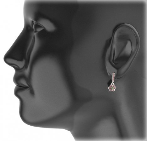 BG circular earring 140-84 - Metal: White gold 585, Stone: Moldavit and garnet