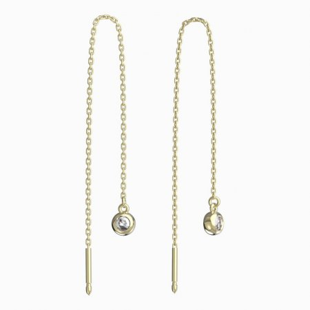 BeKid, Gold kids earrings -101 - Switching on: Circles 15 mm, Metal: Yellow gold 585, Stone: Dark blue cubic zircon
