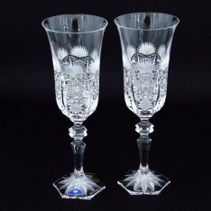 Set of two crystal handmade champagne cups Šafránek 208