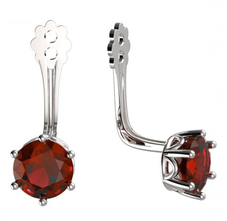BeKid Gold earrings components 5 - Metal: White gold 585, Stone: Red cubic zircon