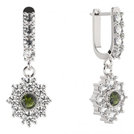 BG circular earring 017-96 - Metal: White gold 585, Stone: Moldavite and cubic zirconium