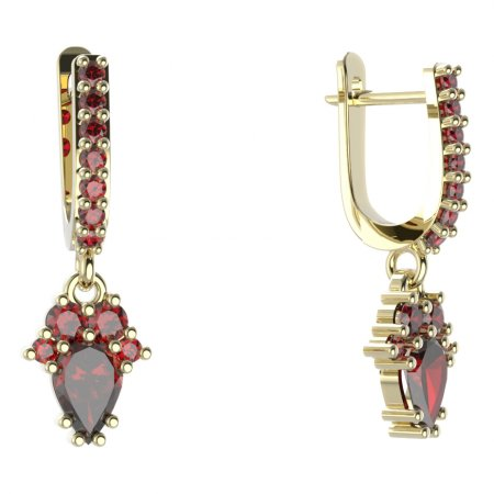 BG circular earring 258-84 - Metal: Yellow gold 585, Stone: Garnet
