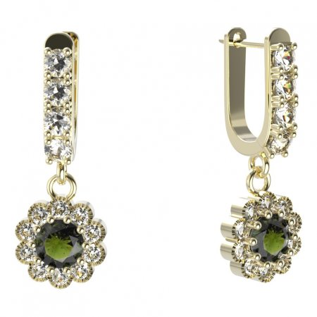 BG circular earring 159-96 - Metal: White gold 585, Stone: Moldavite and cubic zirconium