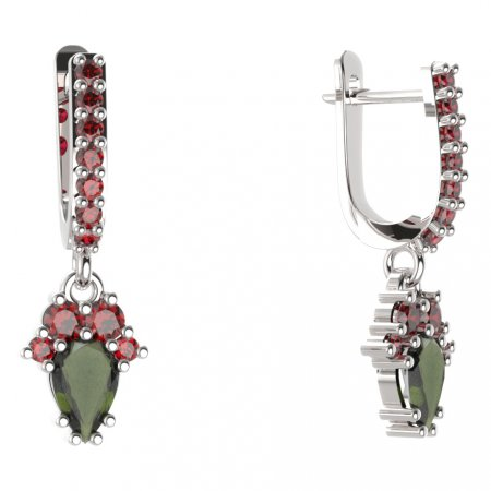BG circular earring 258-84 - Metal: Yellow gold 585, Stone: Moldavite and cubic zirconium