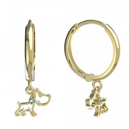 BeKid, Gold kids earrings -1159 - Switching on: Circles 15 mm, Metal: Yellow gold 585, Stone: Green cubic zircon