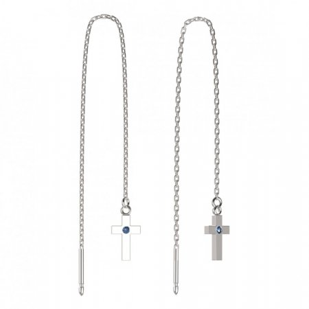 BeKid, Gold kids earrings -1105 - Switching on: Chain 9 cm, Metal: White gold 585, Stone: Light blue cubic zircon