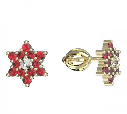 BeKid, Gold kids earrings -090 - Switching on: Screw, Metal: Yellow gold 585, Stone: Red cubic zircon