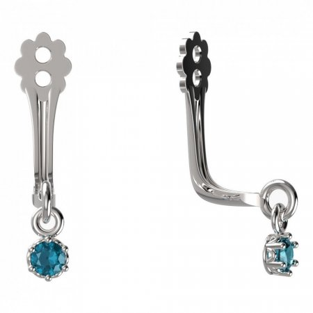 BeKid Gold earrings components I2 - Metal: White gold 585, Stone: Light blue cubic zircon