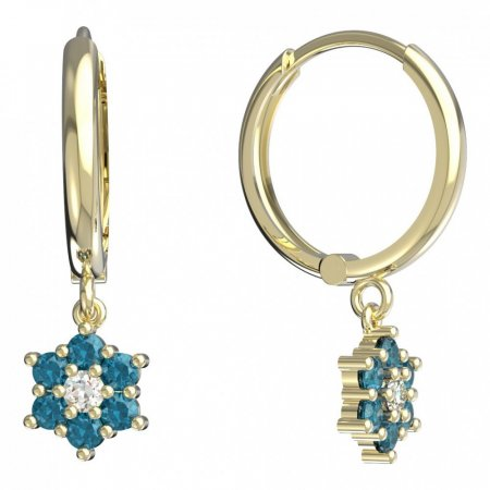 BeKid, Gold kids earrings -109 - Switching on: Circles 15 mm, Metal: Yellow gold 585, Stone: Light blue cubic zircon
