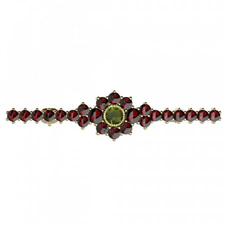 BG brooch 017 - Metal: Silver 925 - ruthenium, Stone: Moldavit and garnet