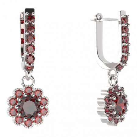 BG circular earring 159-94 - Metal: Silver - gold plated 925, Stone: Moldavite and cubic zirconium