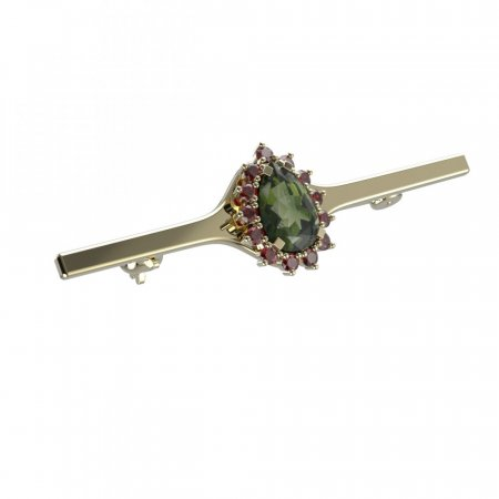 BG brooch 505I - Metal: Silver - gold plated 925, Stone: Moldavite and cubic zirconium